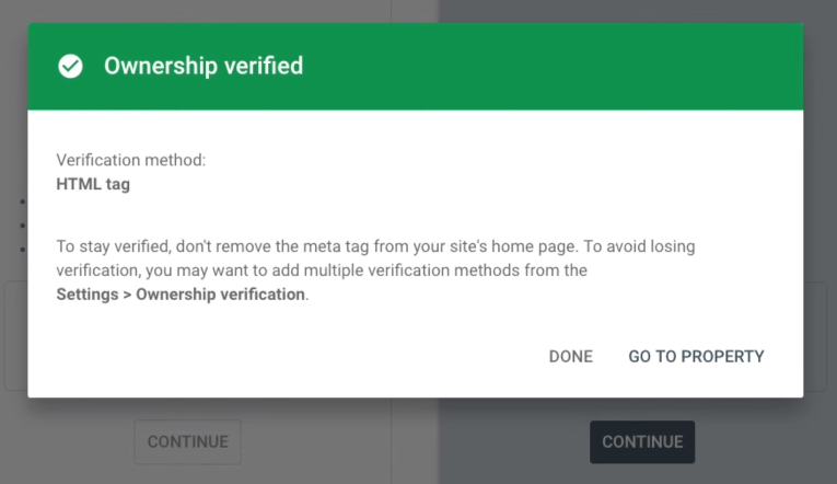 A successful verification popup