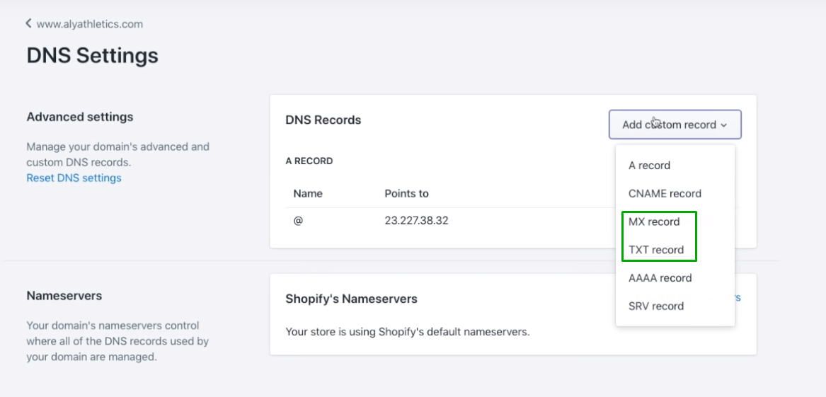 Configure DNS settings to enable Shopify email forwarding