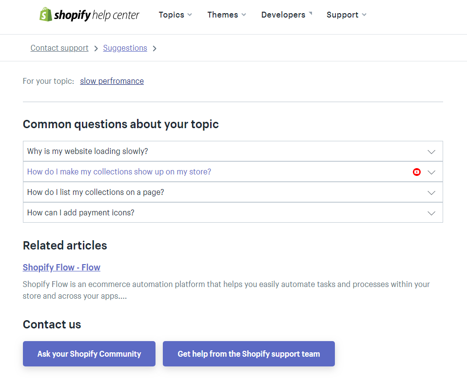 Support options by Shopify.