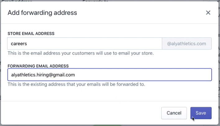 Configuring the forwarding address in Shopify