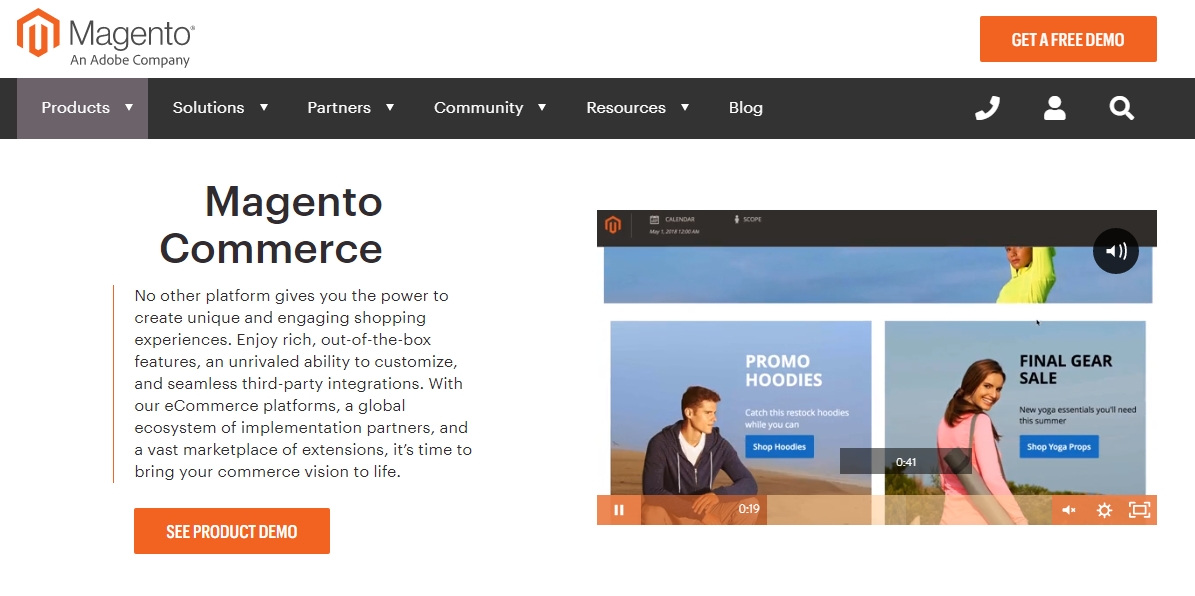 Magento is in top 5 of best platfroms for ecommerce.
