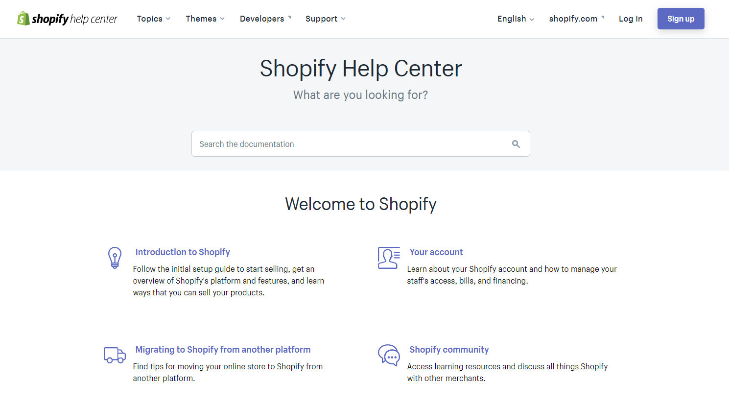 The Shopify Help center page.